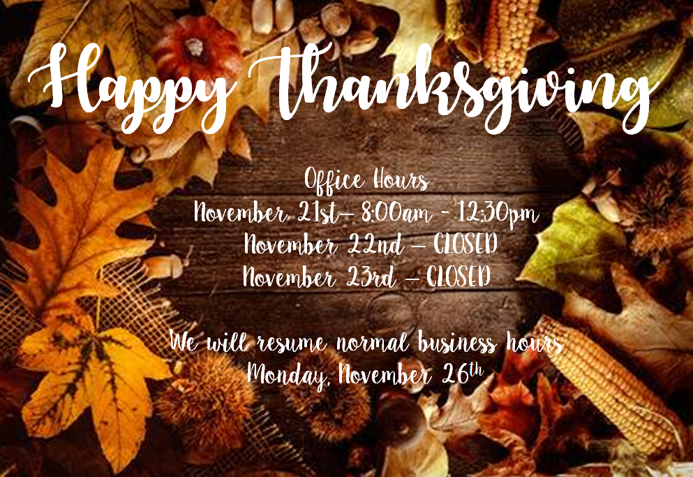 thanksgiving office hours 2018